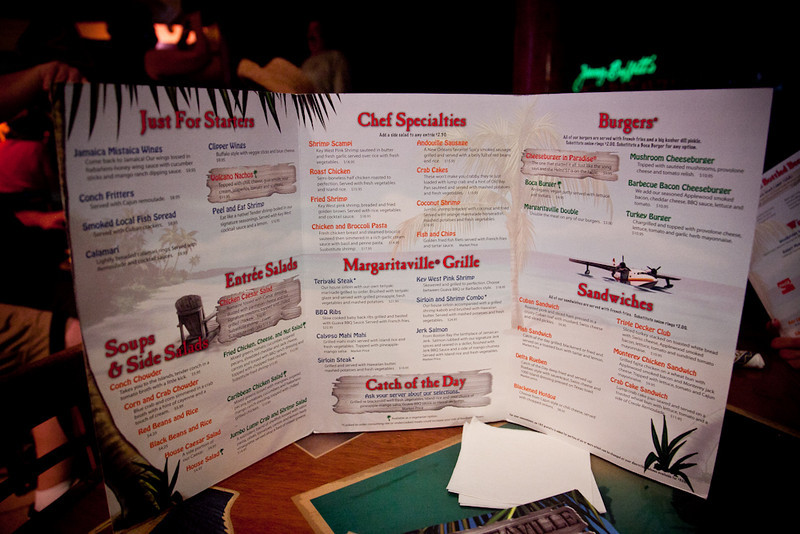 MARGARITAVILLE CAFE MENU