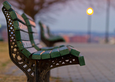 Morning bench.  Bench in Federal Hill. Baltimore, MD.