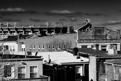 Where the Ravens play.  Black and white. Baltimore, MD.