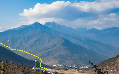 Final approach to Paro airport