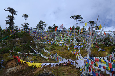 every hilltop is full of prayer flags