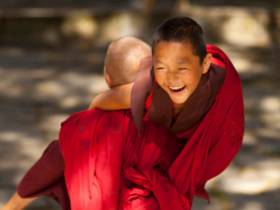 monks in a playful mode
