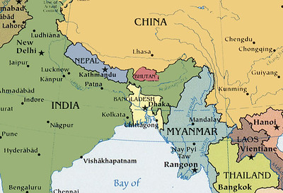 Bhutan is a tiny country on the north east border of India. Actually smaller than Indiana.