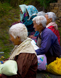 elder ladies enjoy the festival at Ugen Choling