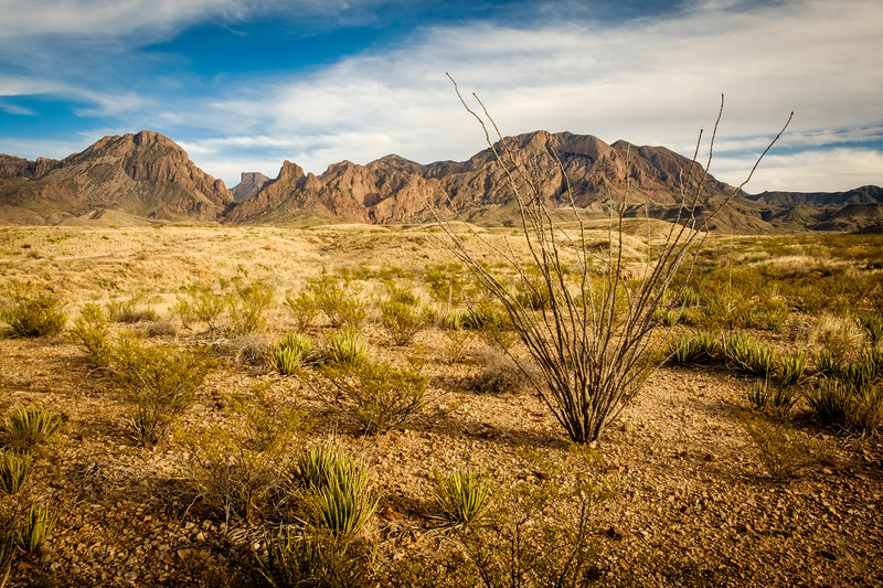 """CHISOS AND """"THE WINDOW"""" AS SEEN FROM THE ROSS MAXWELL SCENIC DRIVE"""
