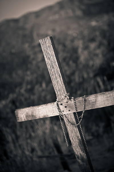 "CROSS AND ""SHADOW"" AT THE TERLINGUA CEMETERY"