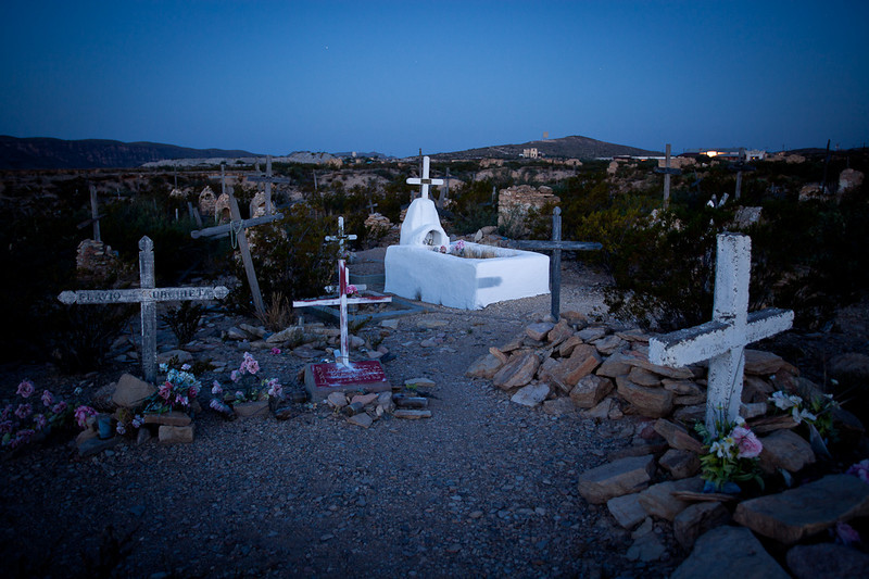 """LIGHT PAINTED"" GRAVE AT THE TERLINGUA CEMETERY"