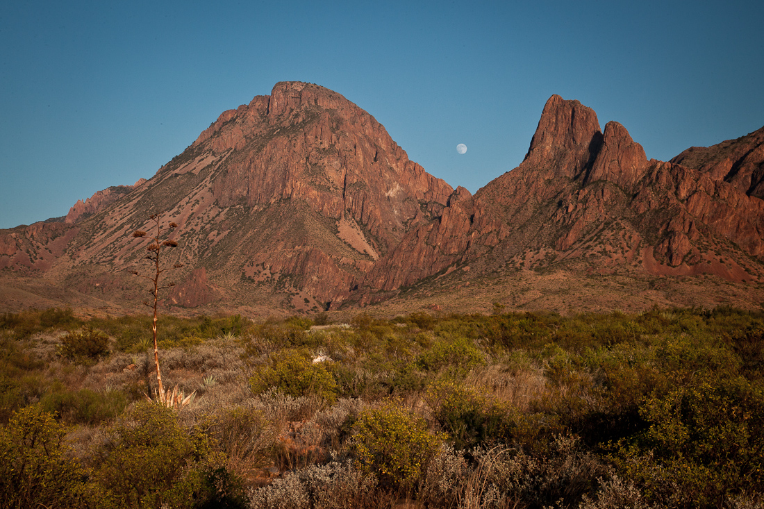 "MOONRISE OVER THE ""WINDOW"" OF THE WESTERN FACE OF THE CHISOS MOUNTAINS"