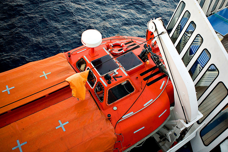 LIFE BOAT AT THE READY POSITION