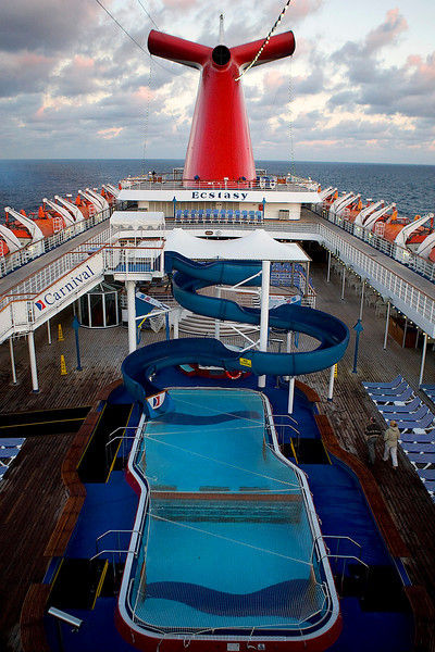 "EARLY MORNING LIGHT BATHING THE ""LIDO"" DECK"