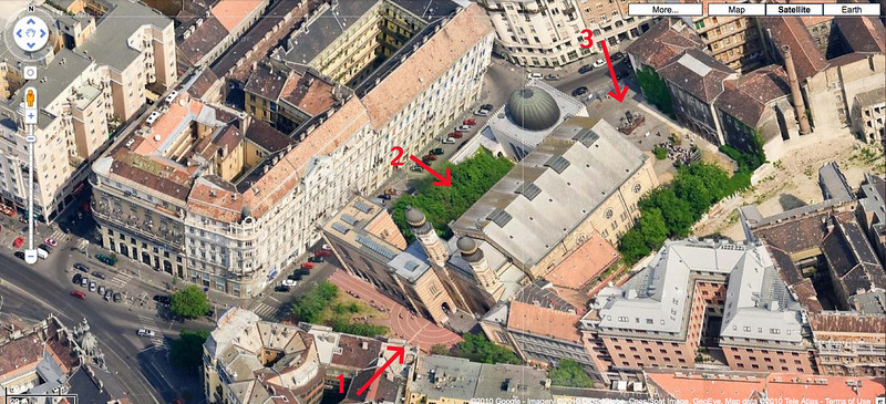 07-The Dohány Street Synagogue complex consists of the Great Synagogue (1), the Jewish Museum (domed building), the Heroes' Temple, the graveyard (2) and the Holocaust memorial (3). The pavement at the entry is in the shape of a Menorah. (Map, Google Earth.)