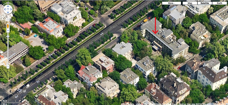 65-Google map, looking north. Arrow points to west facade of Mamaison Hotel. Andrassy Blvd runs from SW (bottom left) to NE (top right). Andrassy is Embassy Row.