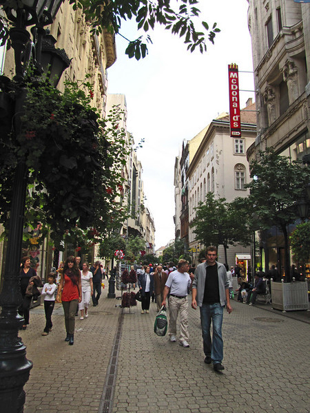 53-Vaci Utca shopping street. I should have eaten at McDonalds.