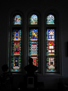 18-Stained glass windows in upstairs Museum area