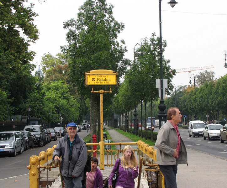 106-This is the M1 Metro stop for Heroes, Square at the NE end of Andrassy Blvd. (and the last slide in this gallery). My hotel is two blocks straight ahead, on the left.