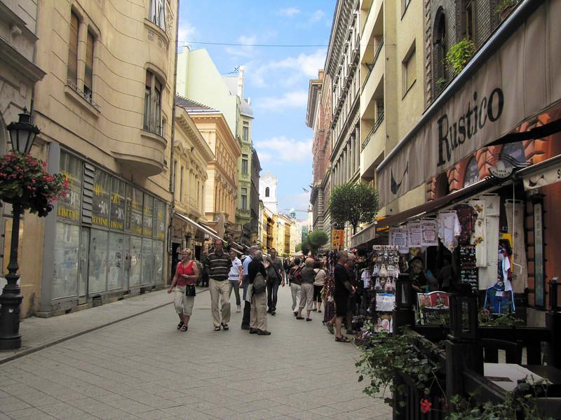 50-Vaci Utca pedestrian street. Leads north for a kilometer to Vörösmarty Square.