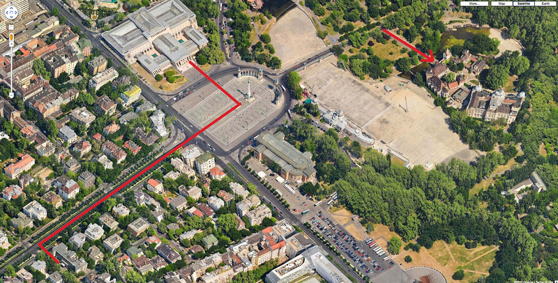 73-Google map. Red line is the walk from my Hotel along Andrassy Blvd to Heroes' Square and the Millennium Monument, and to the Museum of Fine Arts. Arrow points to Vajdahunyad Castle.