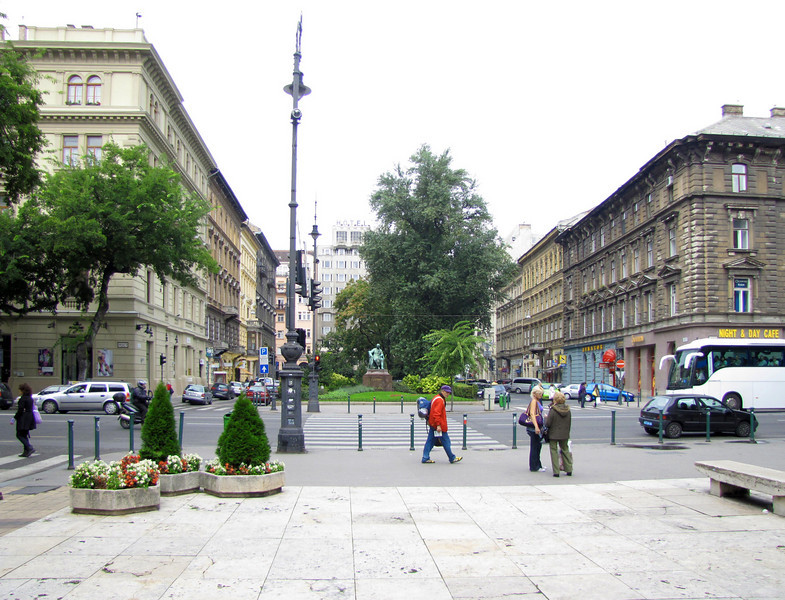 08-Standing in Liszt Square and looking at Jokai Square from the southerly side of Andrassy