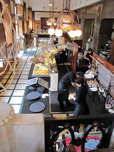 02-My morning stop: Lukacs Coffee Shop, Andrassy Blvd, from my table on the mezzanine.