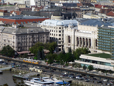 21-East bank of Danube, Vigadó Square, concert hall, riverside tram, boat docks (view from Castle Hill).