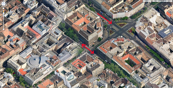 04-Google maps: Jokai Square (lower arrow left): Liszt Ferenc Square (lower arrow right), and Octagon (upper arrow)