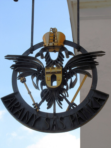 22-Pharmacy sign at Tárnok Street 18. Building used by Golden Eagle Pharmacy, 1750-1913.