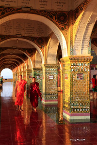 young monks at a beautiful hilltop temple in Mandalay