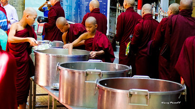 at the bigger monastery cooking for 100 to 300 monks is a major production. Here the have 4 100 gallon pots of rice