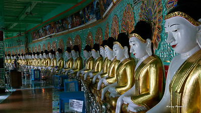 the inside of some temples will have many many Buddhas