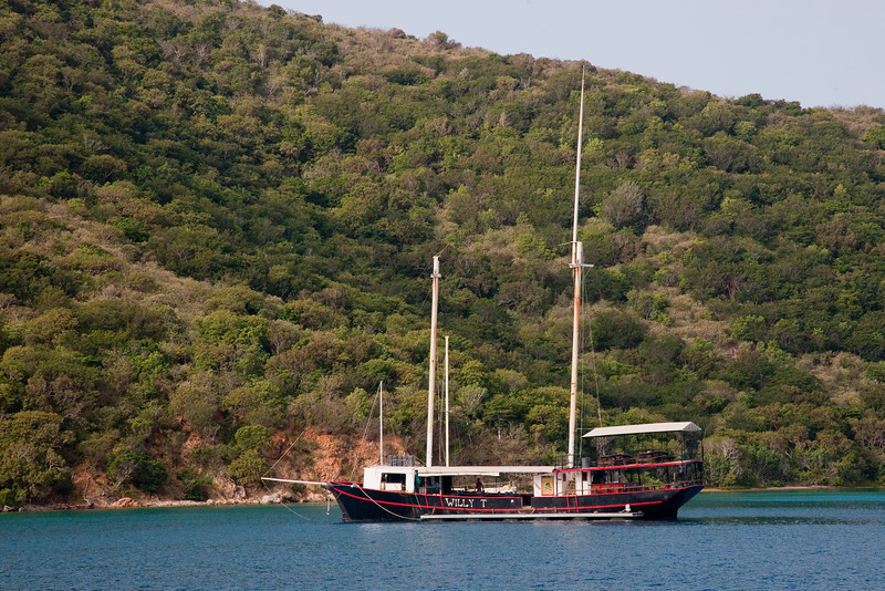 The Willy T, Norman Island, BVI, is a floating bar and restaurant and a hopping place.  Willy T named for William Thornton, the architech of the US Capitol, is much better known for the licencious activity on the poop deck in BVI that takes place daily.