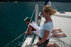 Our fearless captain, Kimberly, vectoring us in to a mooring ball.  Mike stands at the ready to break the boat hook.
