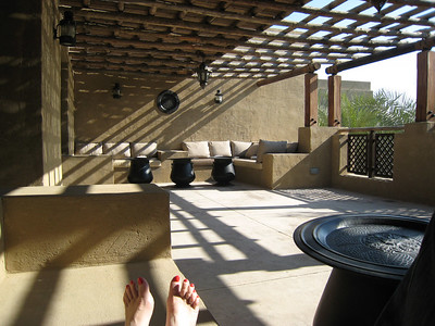 Nice patio, nice pedicure.