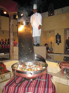 The crabs were boiled in the pot at the top and once they were cooked the chef slid them down the chute into the tray below.