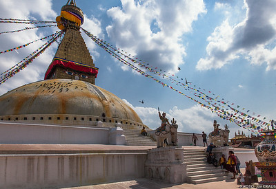 Walking up the Boudhanath Stupa