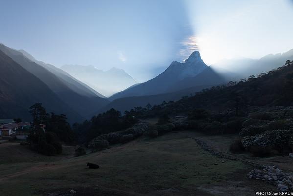 Tengboche sunrise behind Ama Dablam 2