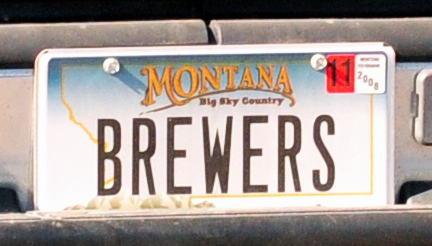 """Brewers"". Creative Montana license plate.  I wonder if they enjoy drinking beer?"