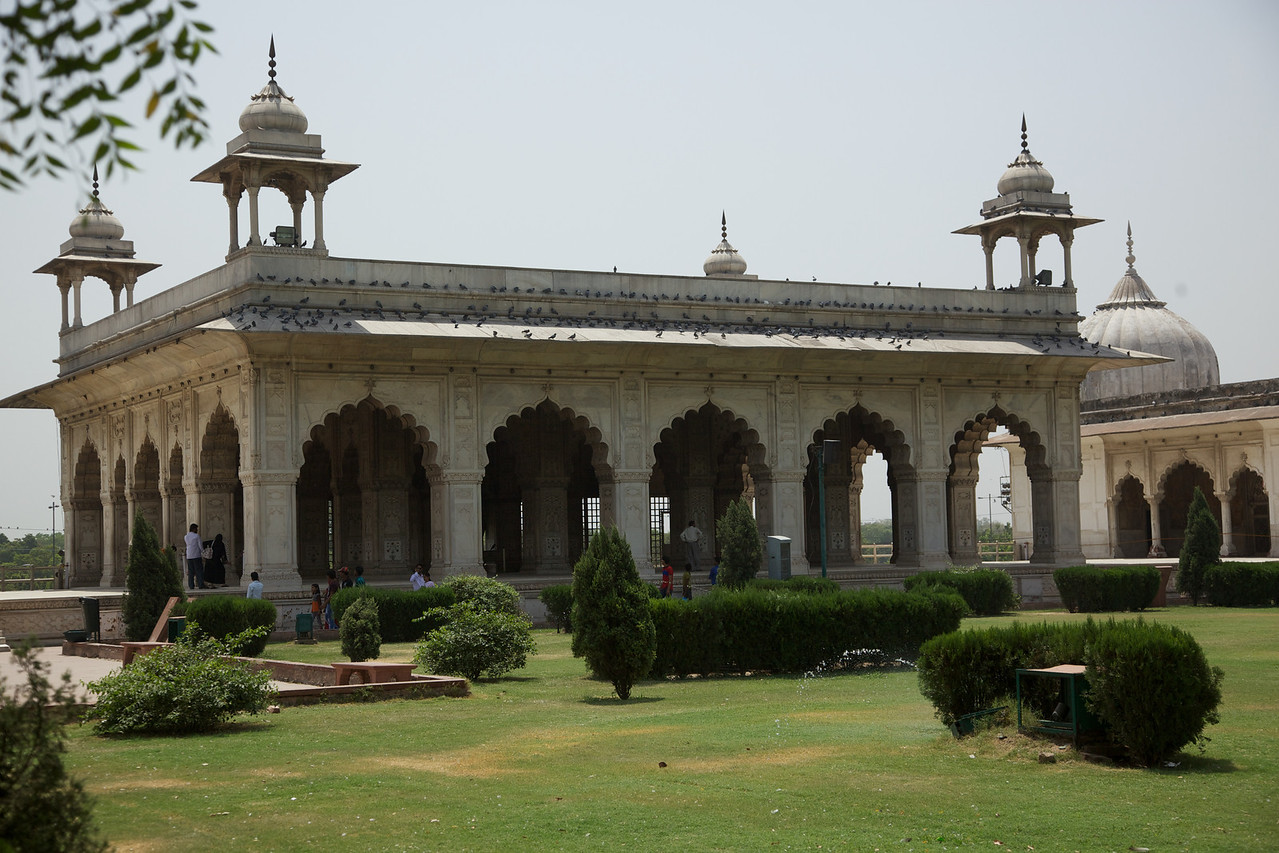 "On the grounds of the Red Fort are the imperial private apartments. They look out onto the river Yamuna. They are connected by a continuous water channel, known as the Nahr-i-Behisht, or the ""Stream of Paradise"", that runs through the centre of each pavilion."