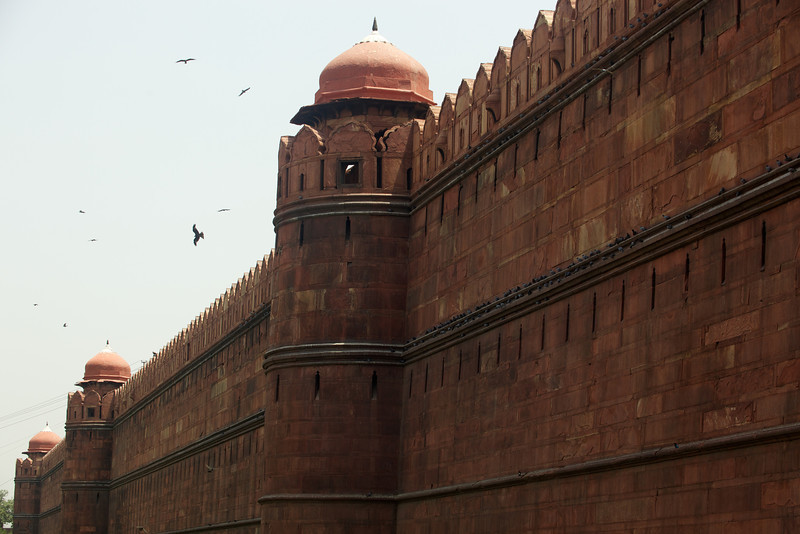 Imposing walls of the Red Fort, New Delhi.