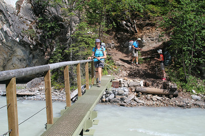 Sheri crossing the Robson River.