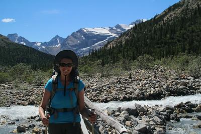 Sheri getting close to Berg Lake.