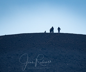 After hiking less than an hour, we came to Cinder Cone and decided, wisely, to save the climbing of it for the route home. This  is a close-up taken with my 900mm lens of folks at the top. Waaaayyyyy up there!