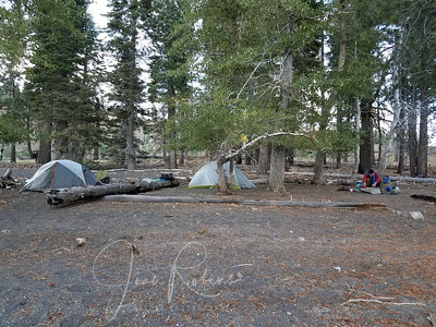 Our Snag Lake Camp. As usual, Charles busy getting dinner ready while I enjoy the view!