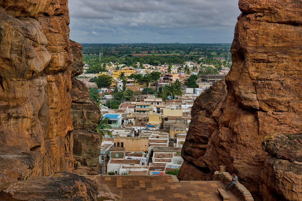 The village of Badami, as seen from between the two rocks Vatapi and Ilvala, named after the two demons from folklore.