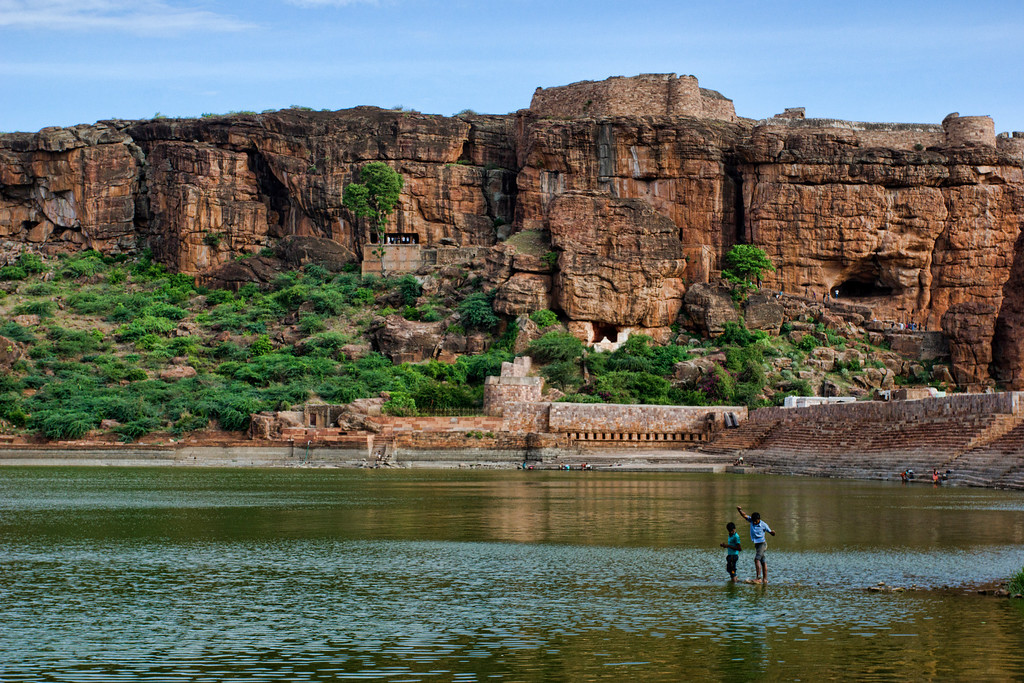 Learning Fly fishing amidst the spectacular backdrop that is Badami