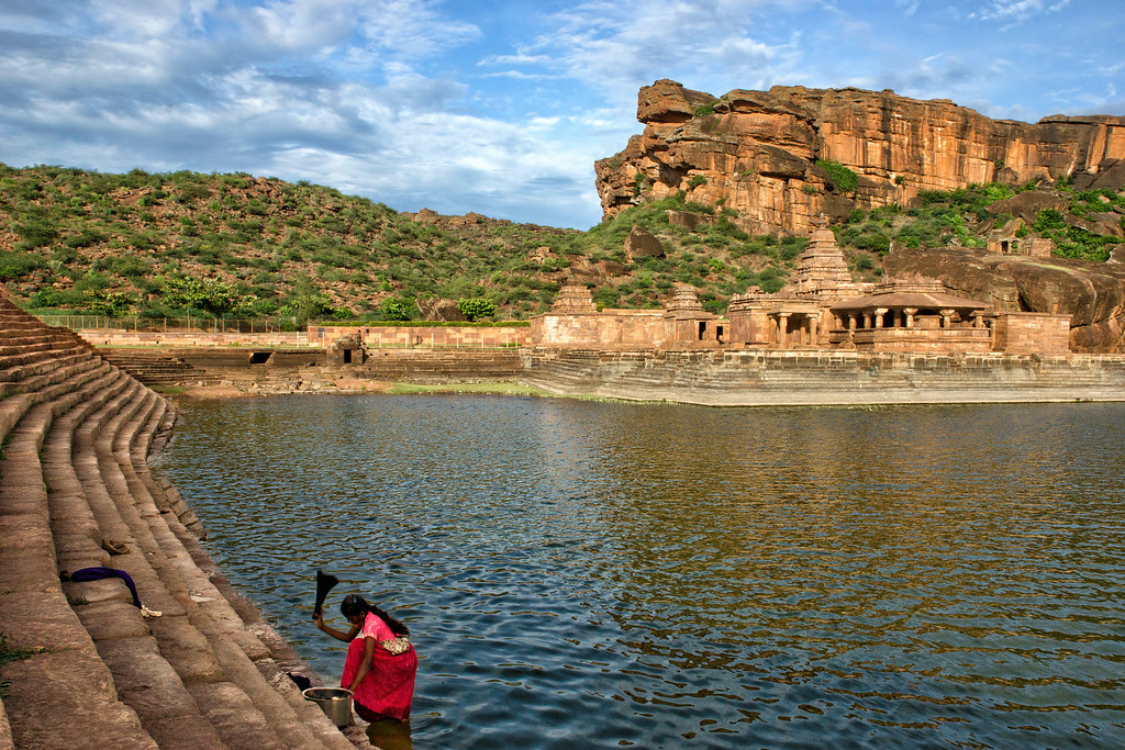 A dhobi goes about her routine.  Agastya Lake, in front of the Bhuthnath temple, is the life-blood of folks in Badami.