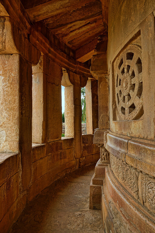 Beautiful curved walkways in a Shiva Temple at Aihole.