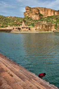The same water's a drinking water supply too!  Agastya Lake, in front of the Bhuthnath temple, is the life-blood of folks in Badami.