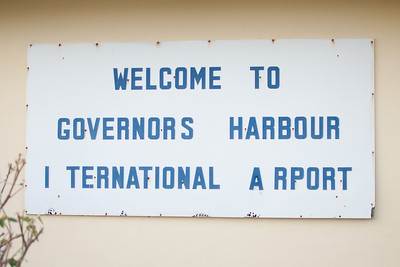 Sign on airport terminal at Governors Harbor Airport, Eleuthera Bahamas.