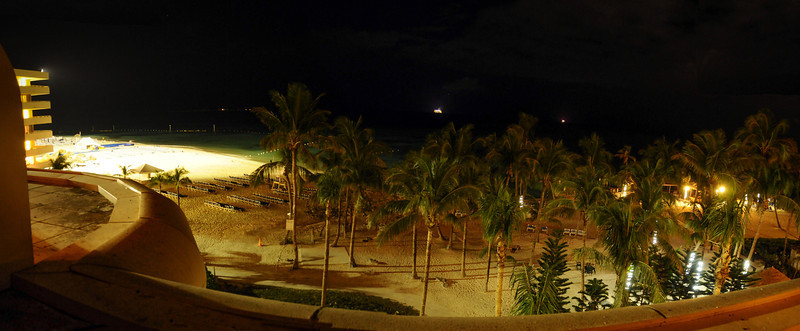 Night time view from Wyndham Resort on Cable Beach, Nassau, Bahamas - February 2012