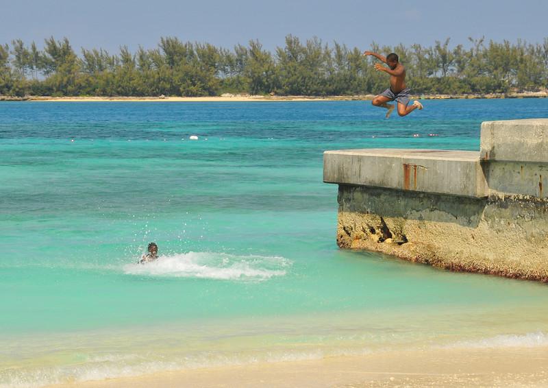 Local kids in enjoying the beach outside of Nassau - February 2011